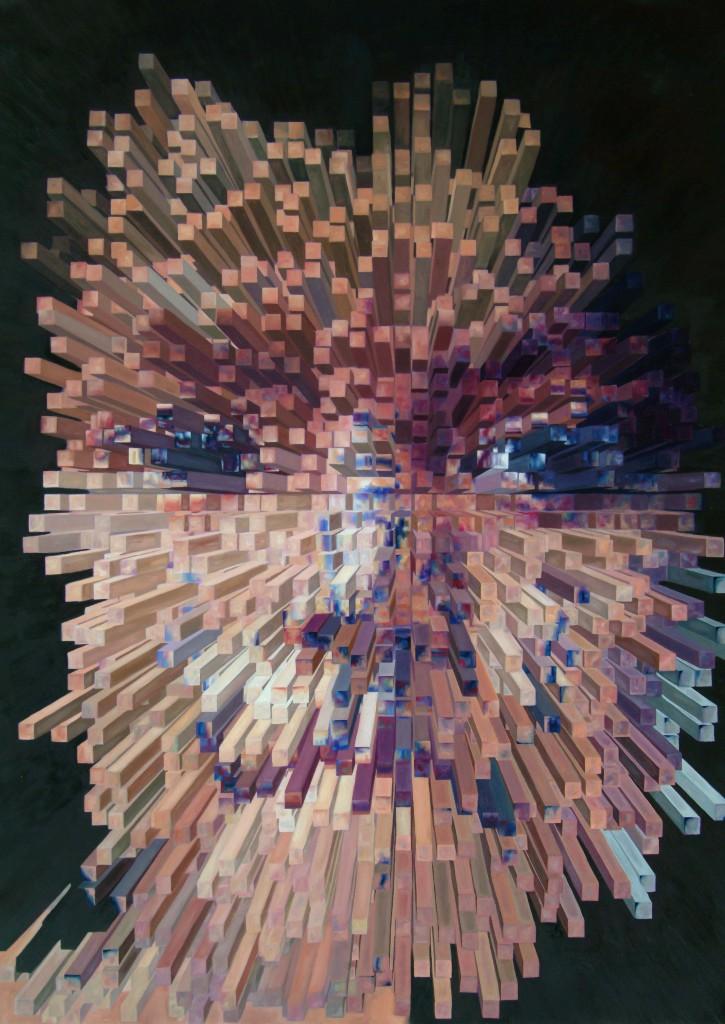 niño huaorani cubista óleo sobre tela 90x70